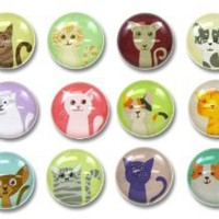 Cute Kitty Cats 12 Pieces Home Button Stickers for iPhone 5 4/4s 3GS 3G, iPad 2, iPad Mini, iPod Touch
