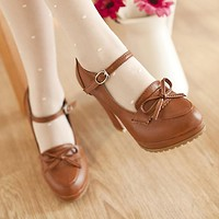 Women High Heels Shoes Ankle Straps Round Toe Platform Chunky Heel Pumps 1109