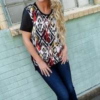Leather Sleeve Ikat Top | The Rage