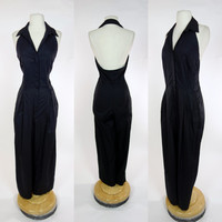 Norma Kamali OMO black halter jumpsuit, button up wide leg palazzo cotton designer jumpsuit, Medium