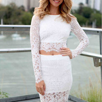 White Full Sleeve Lace Crochet Crop Top and Skirt