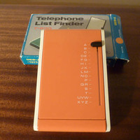 Vintage 1980s Orange Carl T-630 Telephone List Finder - New Old Stock in Original Box / Retro Plastic Teledex / Telephone Flip Finder