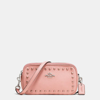 Crossbody Pouch in Lacquer Rivets Pebble Leather