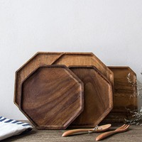 Lekoch Arts and Crafts Wooden Dishes Acacia Wooden Nature Plates Tea Fruits Dessert Dishes Kitchen Tableware Kitchen Tools