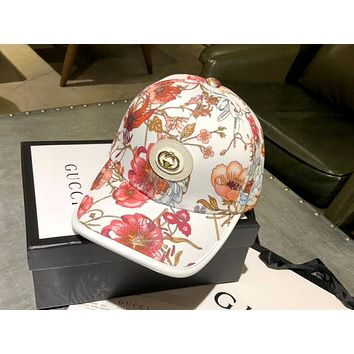UCCI 2019 new women's fresh versatile shade flower print baseball cap Pink