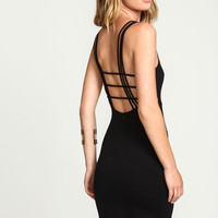 BLACK STRAPPY CAGE BACK DRESS