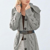 Hand knit Long Jacket -Coat With Wide Collar and Cables Merino Wool Pi