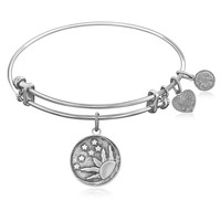 Expandable Bangle in White Tone Brass with Sun, Moon And Stars Symbol