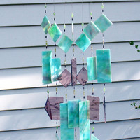 Stained Glass Wind Chimes Blue Green Pink Amethyst X-Large Indoor Outdoor Garden Decor Glass Windchime