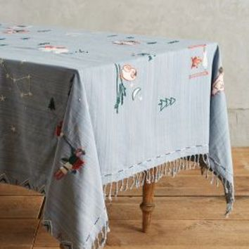 """Polar Legends Tablecloth by Anthropologie in Blue Size: 72"""" X 90""""  House & Home"""