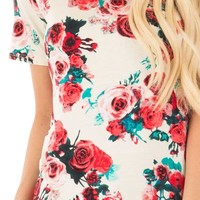 Crimson Rose and Teal Floral Print Short Sleeve Tee