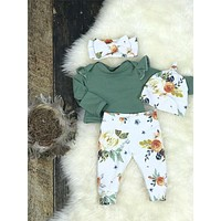 3Pcs Newborn Baby Girl Autumn Clothes Tops Romper Floral Pants Outfits Set 0-24M