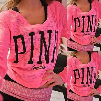 Autumn New Fashion Casual Womens Loose Pullover Rose Red T-Shirt Long Sleeve Cotton Tops Shirt Pink Letter Print Woman T-Shirt
