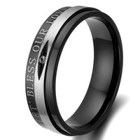 "Flongo Men's ""Bless Our Love"" Black Silver Stainless Steel Couples Wedding Promise Band Ring, Size 8"