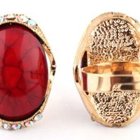 3 Pieces of Ladies Gold with Red Oval Abstract Pattern Center with Surrounding Stones Adjustable Ring
