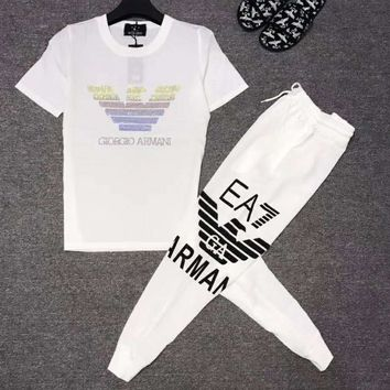 Armani Summer Newest Men Casual Short Sleeve Top Tee Pants Trousers Set Two-Piece Sportswear White