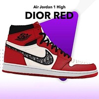 Dior x NIKE Air Jordan 1 OG High 2021 New Sneakers Shoes Red