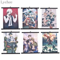 Cool Attack on Titan Lychee 1pc My Hero Academia Scroll Painting  Wall Hanging Poster Canvas Poster Living Room Home Art Decoration AT_90_11
