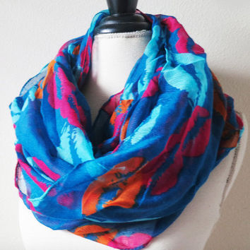 Lips Infinity Scarf, Infinity Scarves Online, Red Blue Multi Color