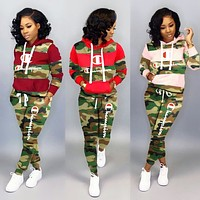 Champion Fashion Women Casual Print Camouflage Top Pants Trousers Set Two-Piece Sportswear