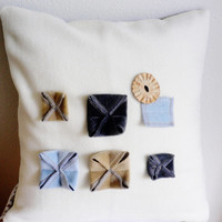 Modern Applique ...Shabby Chic... Decorative Throw Pillow ... 3D Applique