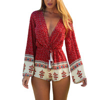 Red Floral Print Deep V-Neck Flare Long Sleeves Drawstring Waist Rompers