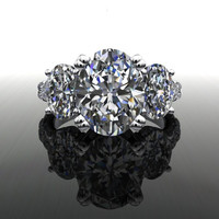 Forever Brilliant Moissanite Three Stone Oval Engagement Ring 5.76 CTW