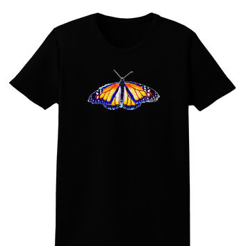 TooLoud Watercolor Monarch Butterfly Womens Dark T-Shirt
