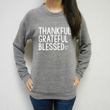 Fleece Lined Thankful Grateful Blessed Off Shoulder Sweatshirt. Womens Thankful Sweater. Blessed Sweater. Grateful Pullover. Thanksgiving