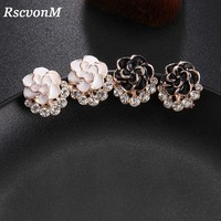 RscvonM 2018 Fashion Gorgeous White Black Crystal Rose Flower Stud Earrings For Womens Party Earring Wedding Jewelry