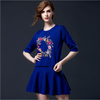 Floral Print Sweater in Black or Blue