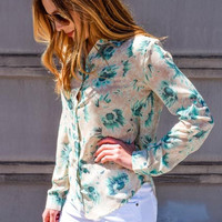 Mint Flowers Spring Chiffon Top