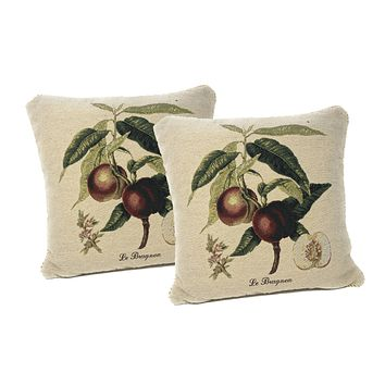 """DaDa Bedding Set of Two Nectarine Fruits Throw Pillow Covers w/ Inserts - 2-PCS - 18"""""""