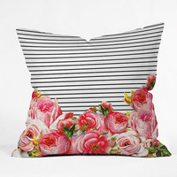 Modern floral and stripes Throw Pillow / pink / classy / black and white / modern design / floral pattern / pink floral pattern / sweet