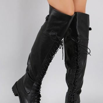 Dollhouse Round Toe Lace Up Combat Over-The-Knee Boots
