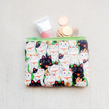 Make Up Bag/ Lucky Cats Gift for Her/ Mothers Day Gift/ Gift for Mom/ Gift for Wife/ Best Friend Gift/ Teacher Gift/ Sister Gift/ Coin Purse