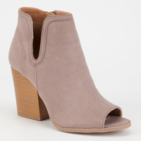 QUPID Single Notch Peep Toe Womens Booties | Heels + Wedges