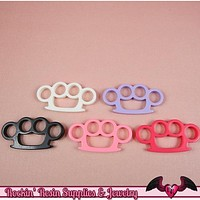 5pc KNUCKLE DUSTERS  Flatback Decoden Kawaii Cabochons / Cellphone Deco 39x20mm
