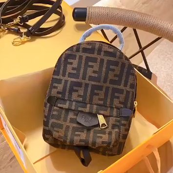Fendi simple canvas full printed double F letter backpack bag