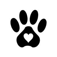 12*12CM Pet Dogs And Cats Paw Prints Heart of Car Stickers Decals Black/Silver C2-0110