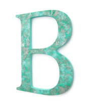 Decorative Letter B  textured seafoam green wall letter with metallic silver and pearl, 10 inch, ready to ship