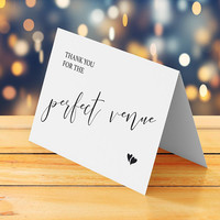Printable wedding thank you card, Instant download, Folded tented small cute calligraphy  thank you card, Best wedding venue thank you note