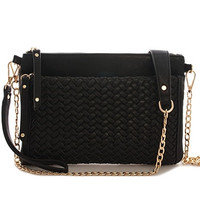 Woven Clutch with Detachable Chain Strap - Black, White or Tan