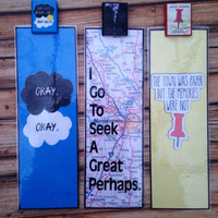 The Fault In Our Stars, Looking For Alaska and Paper Towns polymer clay book charm bookmarks