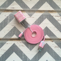New Super Cute Pink & White Diamond Design USB Wall Charger + 6ft Flat Pink Iphone 5/5s/5c/6/6 Plus Cable Cord