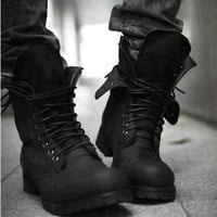 Mens Black Leather Lace Up Gothic Punk Military Style Battle Boots SKU-1280050