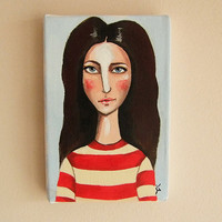 """Tiny Acrylic Painting.Original Acrylic Painting on Tiny Canvas """"Picture for Passport"""". Small painting."""