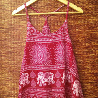 Red Elephants Tank tops Festival fashion Boho Hippie deep armholes Bohemian print Styles fabric Beach Clothing Summer Clothes Gift for her