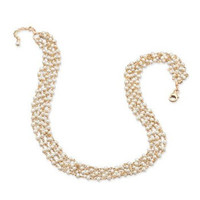 Multi-Strand Cultured Freshwater Pearl and Gold Plated Sterling Silver Necklace