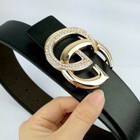 GUCCI Tide brand simple casual wild smooth buckle belt gold